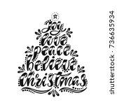 joy  love  peace  believe ... | Shutterstock .eps vector #736635934