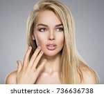 portrait of  young woman with... | Shutterstock . vector #736636738