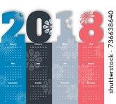 2018 modern calendar template ... | Shutterstock .eps vector #736638640