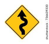 winding road sign on white... | Shutterstock .eps vector #736639330