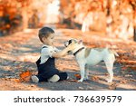 friendship   little boy with... | Shutterstock . vector #736639579