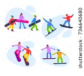snowboarding people with... | Shutterstock .eps vector #736640680