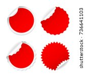 red round post it sticker set... | Shutterstock .eps vector #736641103