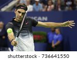 Small photo of NEW YORK - SEPTEMBER 4, 2017: Grand Slam champion Roger Federer of Switzerland in action during his US Open 2017 round 4 match at Billie Jean King National Tennis Center