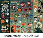 vintage halloween poster design ... | Shutterstock .eps vector #736645660