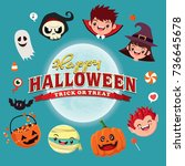 vintage halloween poster design ... | Shutterstock .eps vector #736645678