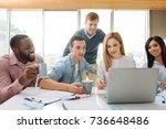 attentive female person... | Shutterstock . vector #736648486