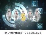 3d people around dollar sign | Shutterstock . vector #736651876