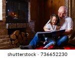 portrait of a grandfather... | Shutterstock . vector #736652230