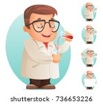 scientist test tube icon retro... | Shutterstock .eps vector #736653226