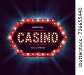 casino banner with shining... | Shutterstock .eps vector #736655440
