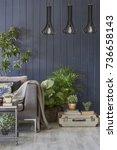 modern interior detail... | Shutterstock . vector #736658143
