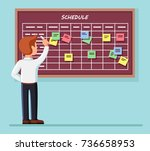 calendar schedule board with... | Shutterstock .eps vector #736658953
