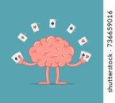 cartoon brain with gambling... | Shutterstock .eps vector #736659016