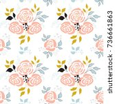 floral seamless pattern. part... | Shutterstock .eps vector #736661863