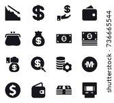 16 vector icon set   crisis ... | Shutterstock .eps vector #736665544