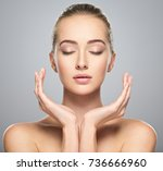 beautiful face of young... | Shutterstock . vector #736666960