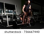 personal trainer showing young... | Shutterstock . vector #736667440