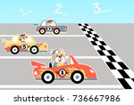 car race  vector cartoon... | Shutterstock .eps vector #736667986