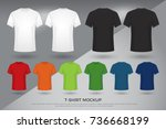 men's t shirt mockup  set of... | Shutterstock .eps vector #736668199