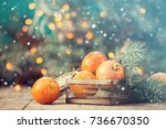 christmas concept with... | Shutterstock . vector #736670350