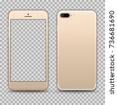 realistic gold smartphone... | Shutterstock .eps vector #736681690