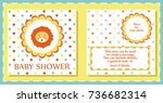 baby shower cute card. vector... | Shutterstock .eps vector #736682314
