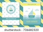 baby shower cute card. vector... | Shutterstock .eps vector #736682320