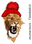 a grinning lion  in a knitted...   Shutterstock .eps vector #736686814
