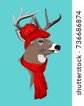 deer in a santa cap with a...   Shutterstock .eps vector #736686874