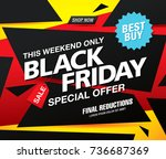black friday sale banner layout ... | Shutterstock .eps vector #736687369