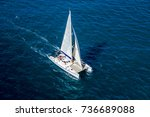 aerial view of a catamaran... | Shutterstock . vector #736689088