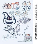 doodles of pattern halloween... | Shutterstock . vector #736689418