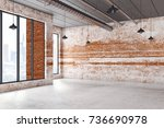 abstract interior with city... | Shutterstock . vector #736690978