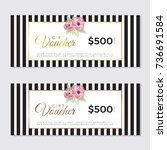 gift voucher with gold and rose ...   Shutterstock .eps vector #736691584