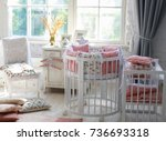 room for baby  baby round crib  ... | Shutterstock . vector #736693318