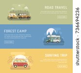 rv camping banners with... | Shutterstock . vector #736694236