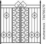 wrought iron gate  door  fence  ... | Shutterstock .eps vector #736700170