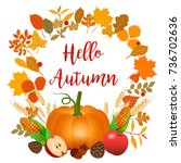 hello autumn illustration with...   Shutterstock . vector #736702636