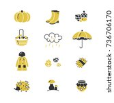 set of autumn icons. clothing ... | Shutterstock .eps vector #736706170