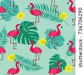 cute retro seamless flamingo... | Shutterstock . vector #736706290