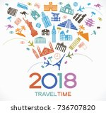 travel and tourism background.... | Shutterstock .eps vector #736707820
