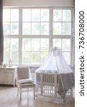 children's oval crib in white... | Shutterstock . vector #736708000