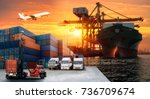 logistics and transportation of ... | Shutterstock . vector #736709674