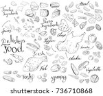 set with different food... | Shutterstock .eps vector #736710868