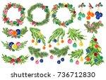 watercolor artistic hand drawn... | Shutterstock . vector #736712830