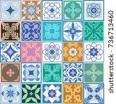 classical set of glazed ceramic ... | Shutterstock .eps vector #736713460