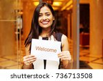 beautiful indian female hotel... | Shutterstock . vector #736713508