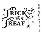 trick or treat text banner ... | Shutterstock .eps vector #736717090