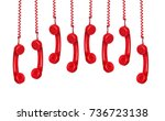 many phones hanging isolated on ... | Shutterstock . vector #736723138